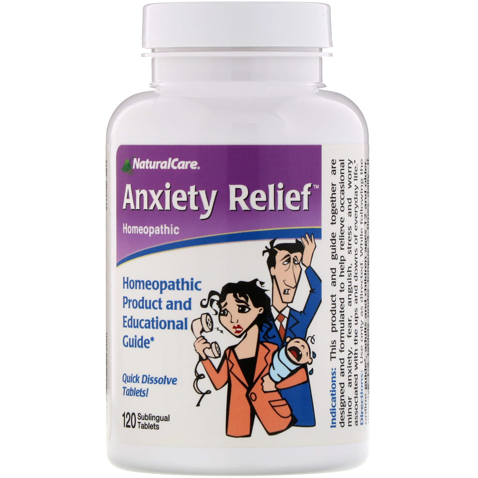 NaturalCare, Anxiety Relief, 120 Sublingual Tablets - iHerb com