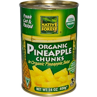 Native Forest, 100% Organic Pineapple Chunks, 14 oz (400 g)