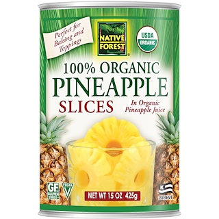Native Forest, Edward & Sons, Native Forest, 100% Organic Pineapple Slices, 15 oz (425 g)