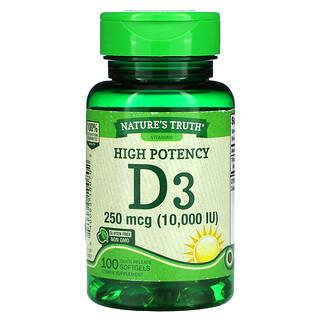 Nature's Truth, High Potency Vitamin D3, 250 mcg (10,000 IU), 100 Quick Release Softgels