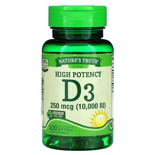 High Potency Vitamin D3, 250 mcg (10,000 IU), 100 Quick Release Softgels