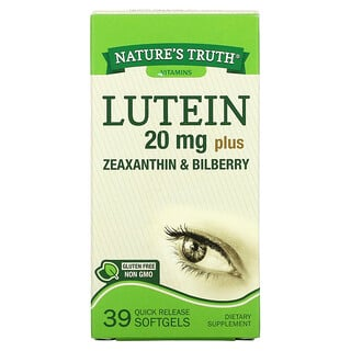 Nature's Truth, Lutein plus Zeaxanthin & Bilberry, 20 mg , 39 Quick Release Softgels