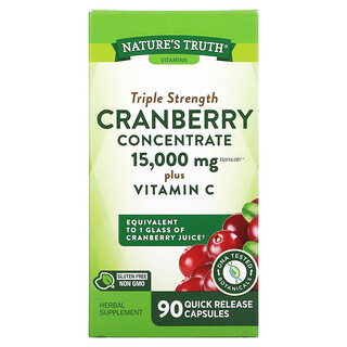 Nature's Truth, Triple Strength Cranberry Concentrate Plus Vitamin C, 15,000 mg, 90 Quick Release Capsules