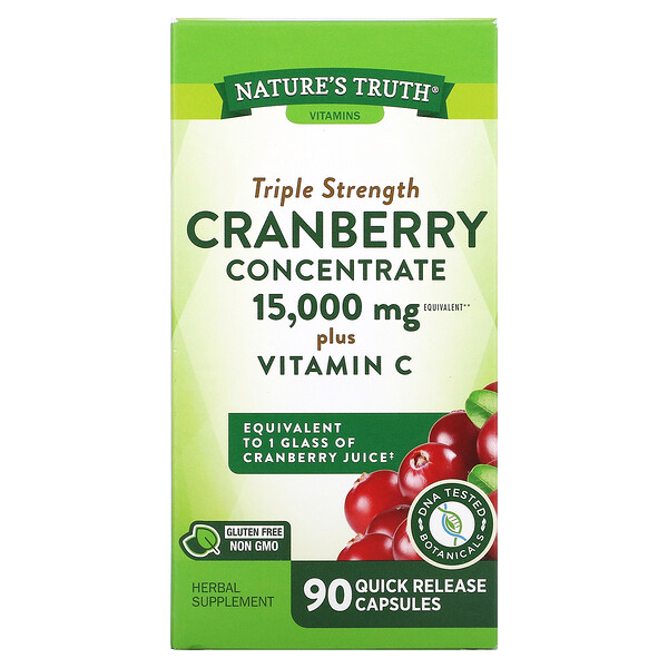 Triple Strength Cranberry Concentrate Plus Vitamin C, 15,000 mg, 90 Quick Release Capsules