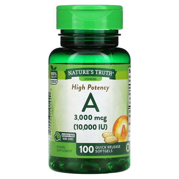 High Potency Vitamin A, 3,000 mcg (10,000 IU), 100 Quick Release Softgels