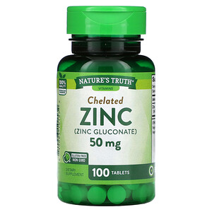 Nature's Truth, Zinc, Chelated, 50 mg, 100 Tablets'