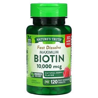 Nature's Truth, Maximum Biotin, Natural Berry, 10,000 mcg, 120 Fast Dissolve Tablets