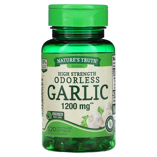 High Strength Odorless Garlic, 1,200 mg, 120 Quick Release Softgels