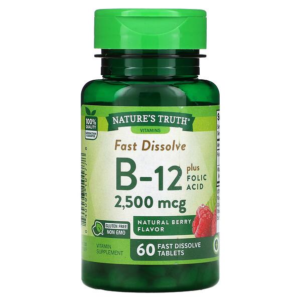 Vitamin B-12 plus Folic Acid, Natural Berry, 2,500 mcg, 60  Fast Dissolve Tablets