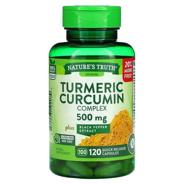 Turmeric Curcumin Complex Plus Black Pepper Extract, 500 mg, 120 Quick Release Capsules