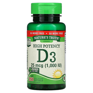 Nature's Truth, High Potency Vitamin D3, 25 mcg (1,000 IU), 250 Quick Release Softgels