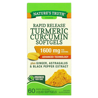 Nature's Truth, Turmeric Curcumin plus Ginger, Astragalus and Black Pepper Extract, 800 mg,  60 Rapid Release Liquid Softgels