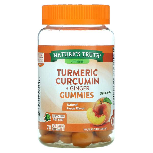 Nature's Truth, الكركم والكركمين + الزنجبيل، نكهة الخوخ الطبيعية، 70 علكة نباتية