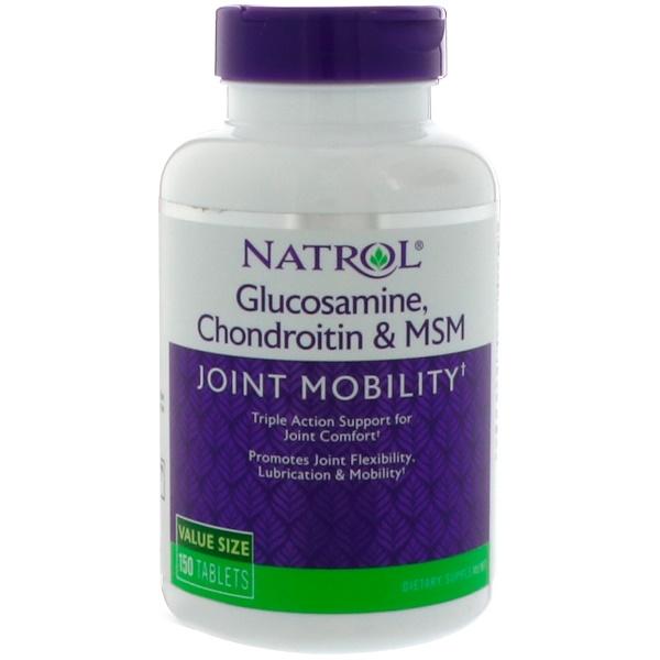 Natrol, Глюкозамин, хондроитин и МСМ, 150 таблеток