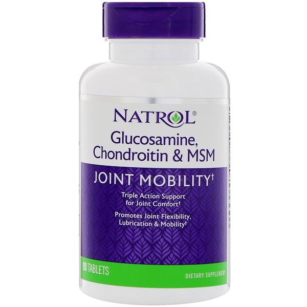 Natrol, 氨基葡萄糖,軟骨素和MSM,90片