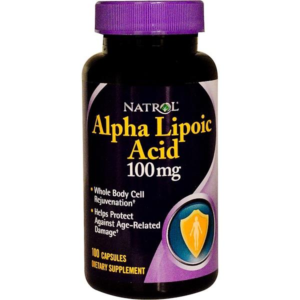 Natrol, Alpha Lipoic Acid, 100 mg, 100 Capsules (Discontinued Item)