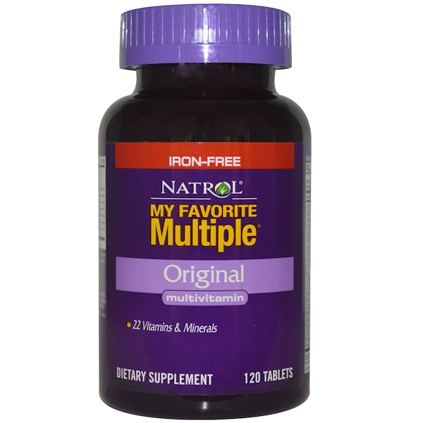 Natrol, My Favorite Multiple, Original Multivitamin, Iron-Free, 120 Tablets (Discontinued Item)