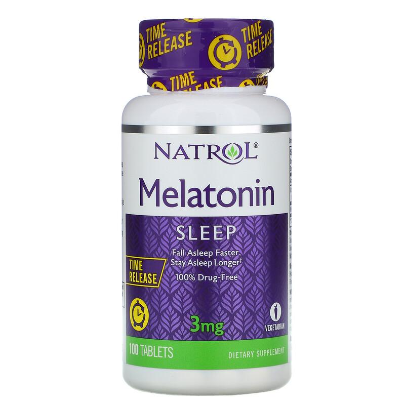 Natrol, 緩釋型褪黑素,3毫克,100片