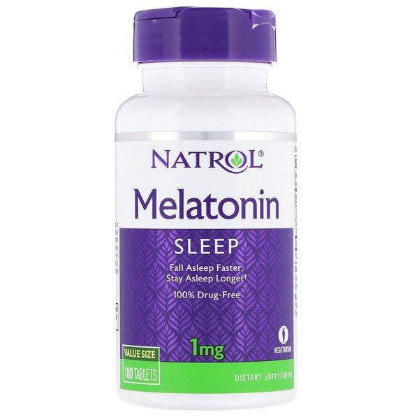 Natrol, Melatonina, 1 mg, 180 Tabletas
