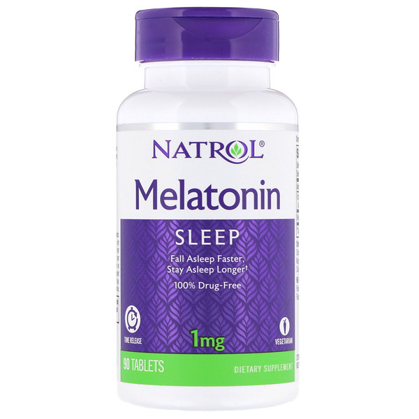 Melatonin, Time Release, 1 mg, 90 Tablets