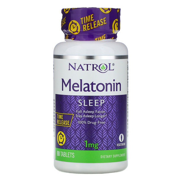 Natrol, Melatonin, Time Release, 1 mg, 90 Tablets
