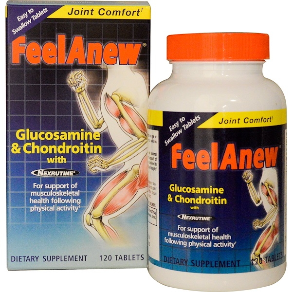 Natrol, FeelAnew, Glucosamine & Chondroitin with Nexrutine, 120 Tablets (Discontinued Item)