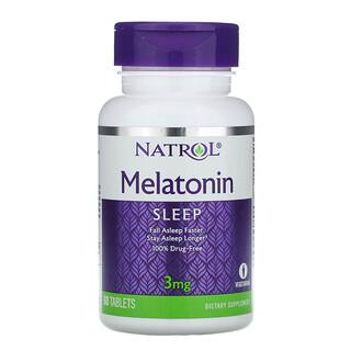 Natrol, メラトニン、3 mg、 60錠
