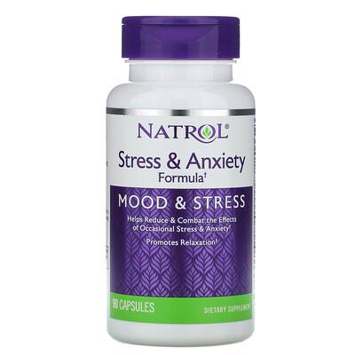Natrol Формула для борьбы со стрессом и беспокойством, настроение и стресс, 90 капсул