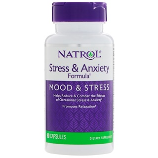 Natrol, Stress & Anxiety Formula, Mood & Stress, 90 Capsules