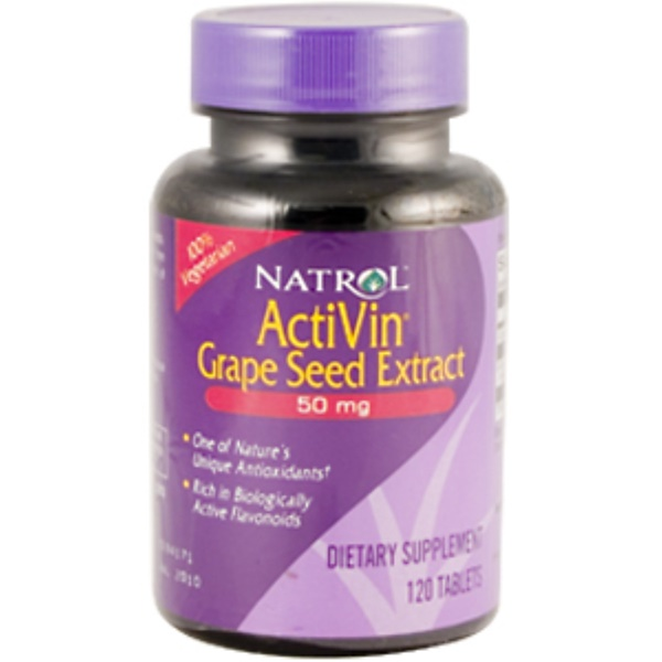 Natrol, ActiVin, Grape Seed Extract, 50 mg, 120 Tablets (Discontinued Item)