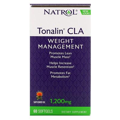 Купить Natrol Tonalin CLA, конъюгированная линолевая кислота (КЛК), 1200мг, 60мягких таблеток