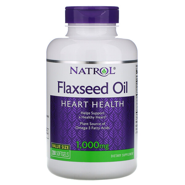 Natrol, Flaxseed Oil, Heart Health, 1,000 mg, 200 Softgels