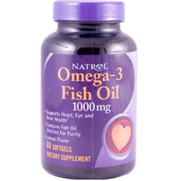 Natrol, Omega-3 Fish Oil, Lemon Flavor, 1000 mg, 60 Softgels (Discontinued Item)