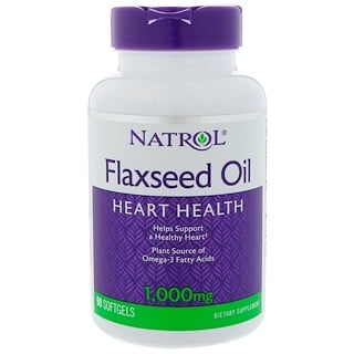 Natrol, Flaxseed Oil, 1,000 mg, 90 Softgels