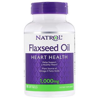 Natrol, Flaxseed Oil, 1,000 mg, 90 Softgels