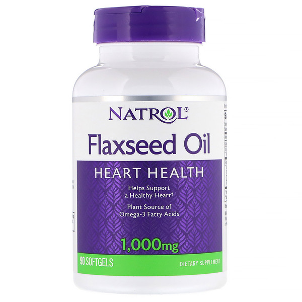 Natrol, Flaxseed Oil, Heart Health, 1,000 mg, 90 Softgels