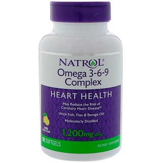 Natrol, Omega 3-6-9 Complex, Lemon Flavor, 1,200 mg, 90 Softgels