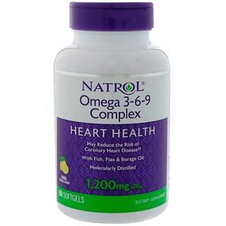 Natrol, オメガ 3-6-9 コンプレックス, レモン フレーバー, 90 ソフトジェル