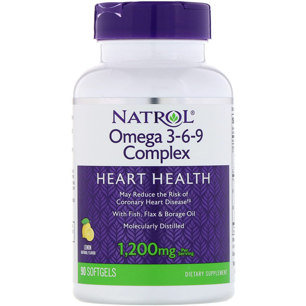 Natrol, Omega 3-6-9 Complex, Lemon, 1,200 mg, 90 Softgels (Discontinued Item)