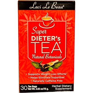 Natrol, Laci Le Beau, Super Dieter's Tea, Natural Botanicals, 30 Tea Bags, 2.63 oz (75 g)