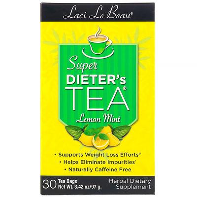 Купить Laci Le Beau, Super Dieter's Tea, Лимон и мята, 30 чайных пакетиков, 75 г