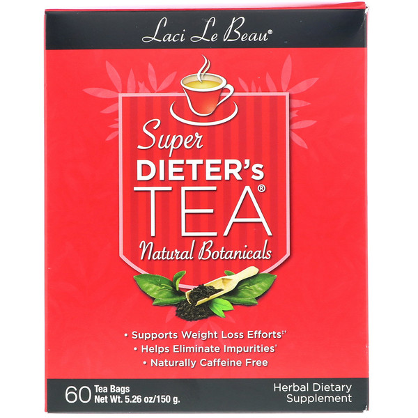 Laci Le Beau, Super Dieter's Tea, Natural Botanicals, 60 Tea Bags, 5.26 oz (150 g)