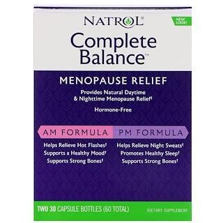 Natrol, Equilibrio completo para la menopausia, AM / PM, dos frascos de 30 cápsulas cada uno
