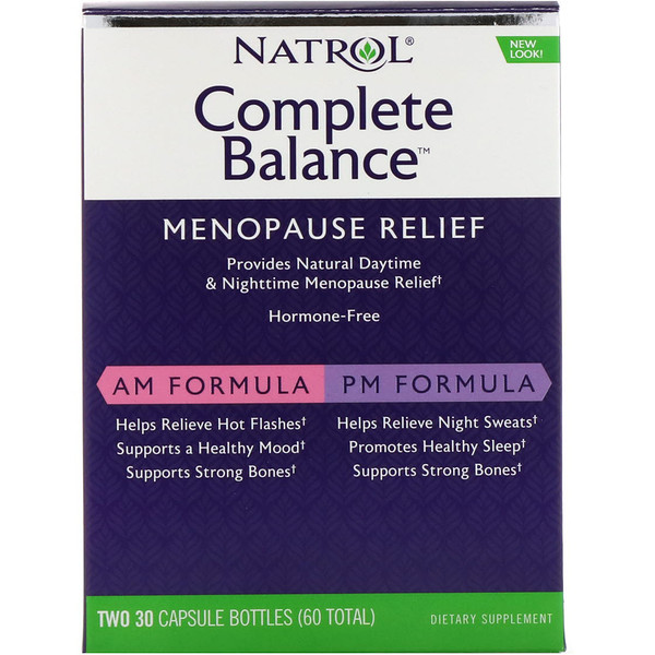 Natrol, Complete Balance, Menopause Relief, AM/PM, Two Bottles 30 Capsules Each