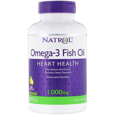 Фото Рыбий жир омега-3, натуральный лимонный вкус, 1000 мг, 150 мягких таблеток