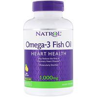 Рыбий жир омега-3, натуральный лимонный вкус, 1000мг, 150мягких таблеток - фото