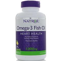Natrol, オメガ-3 フィッシュオイル、ナチュラルレモンフレーバー、1,000 mg、150ソフトジェル