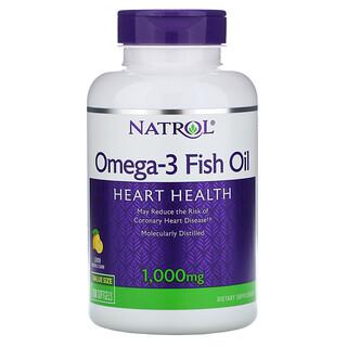 Natrol, рыбий жир омега-3, натуральный лимонный вкус, 1000мг, 150мягких таблеток