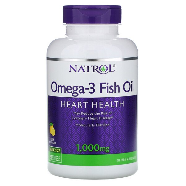 Natrol, Omega-3 Fish Oil, Natural Lemon Flavor, 1,000 mg, 150 Softgels