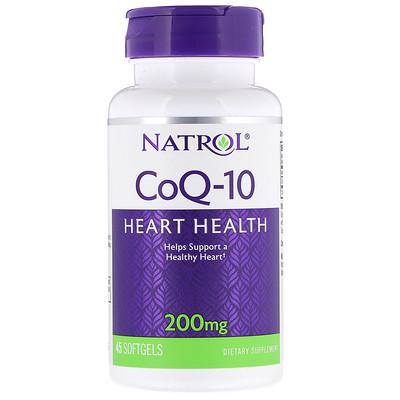 Купить Natrol CoQ-10, 200 мг, 45 мягких желатиновых капсул